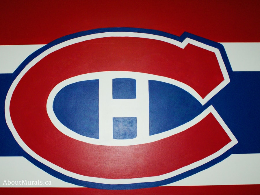A closeup of a Montreal Canadiens wall painted by Adrienne of AboutMurals.ca