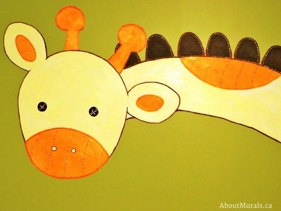 A safari mural featuring a giraffe, painted by Adrienne of AboutMurals.ca
