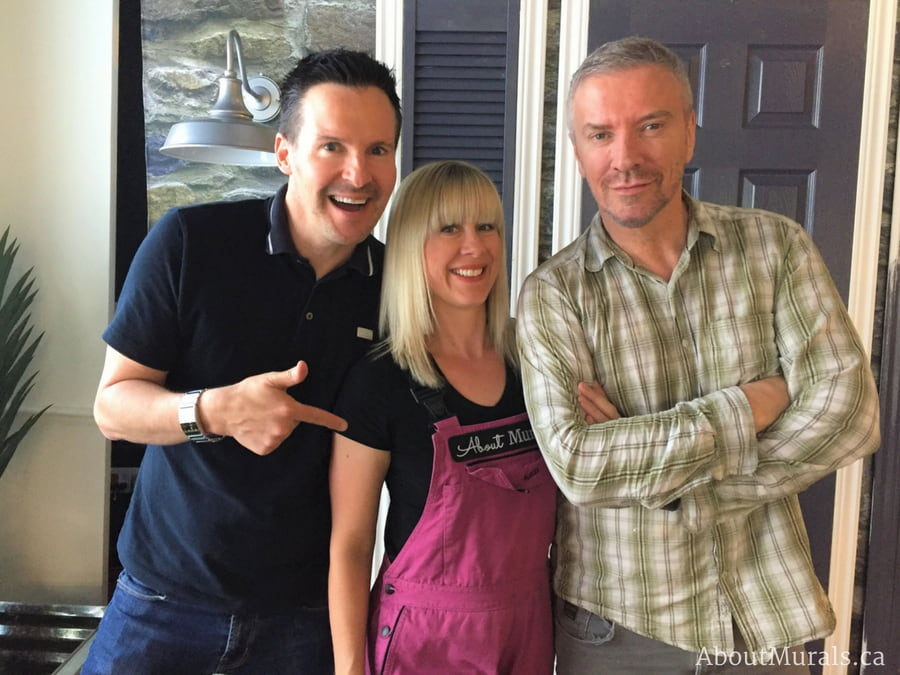 Adrienne of AboutMurals.ca, with designers Colin and Justin, with a stone wallpaper on Cityline in the background