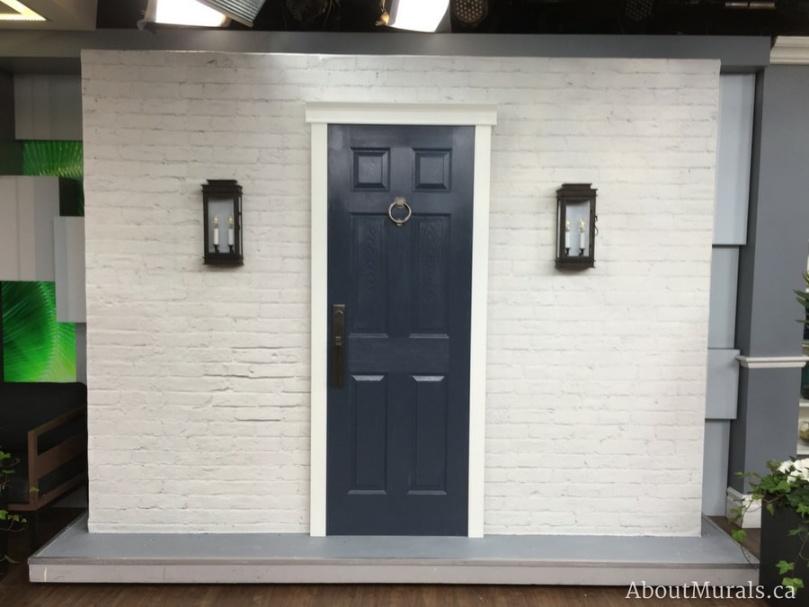 A white brick wallpaper on Cityline, supplied and hung by Adrienne of AboutMurals.ca