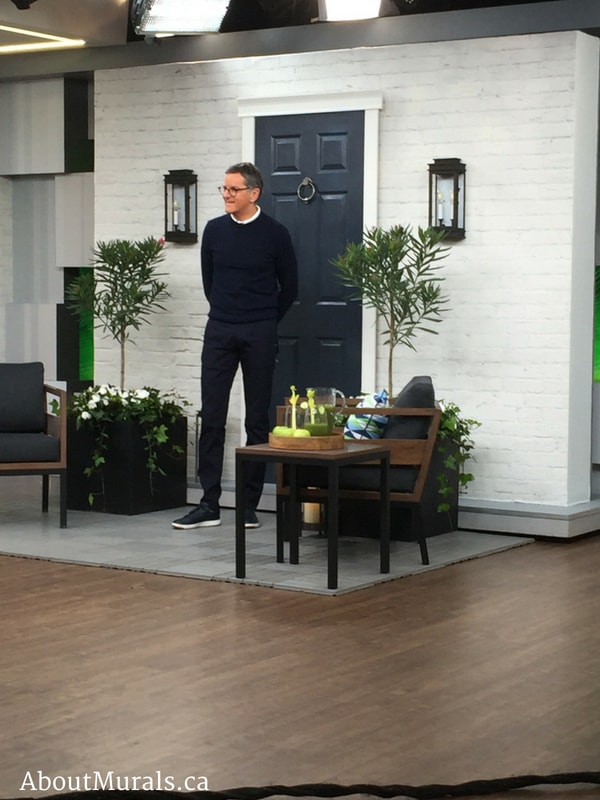 Brian Gluckstein in front of white brick wallpaper on Cityline, supplied and hung by AboutMurals.ca