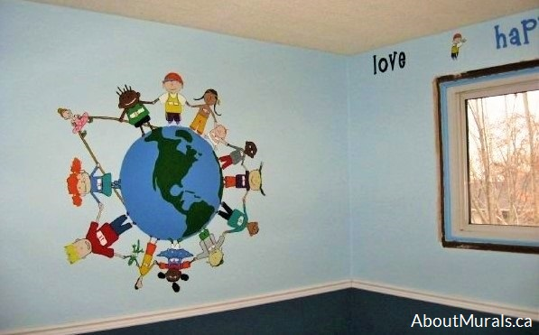A world mural featuring kids holding hands surrounding the earth, painted by Adrienne of AboutMurals.ca