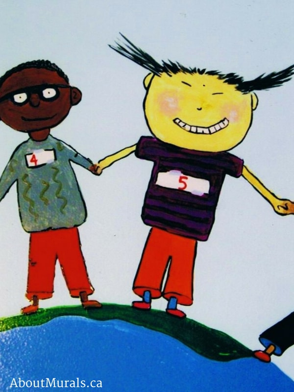 A boy and girl holding hands are painted into a world mural by Adrienne of AboutMurals.ca