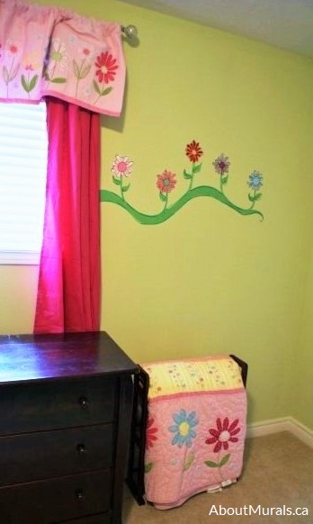 A flower mural painted by Adrienne of AboutMurals.ca