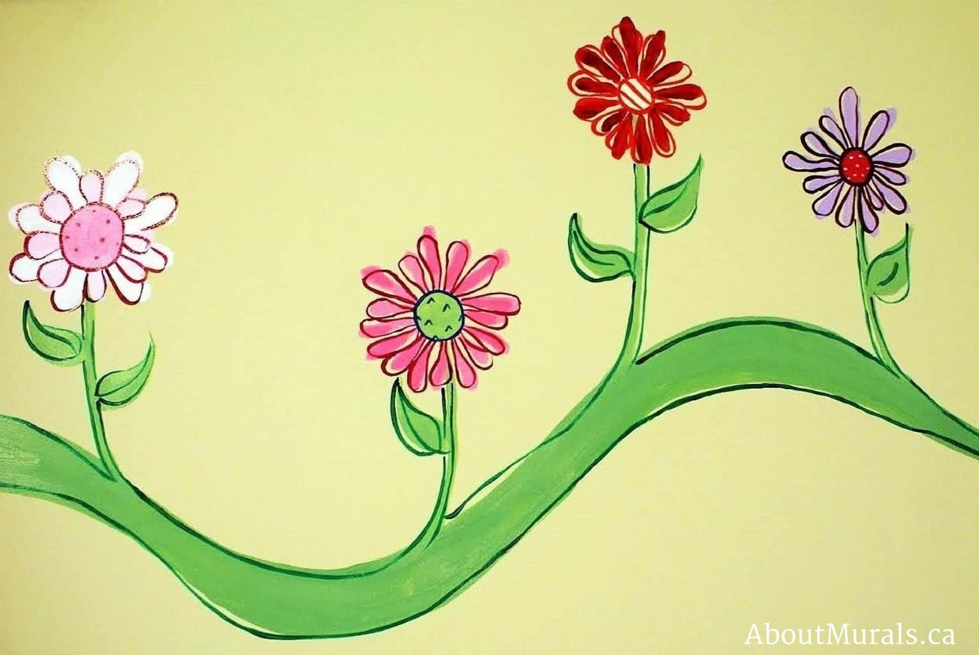 A pretty flower mural on a vine painted by Adrienne of AboutMurals.ca