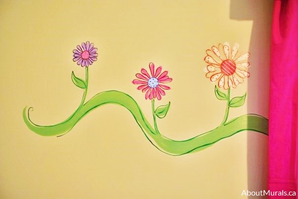 A pink and purple flower mural painted by Adrienne of AboutMurals.ca
