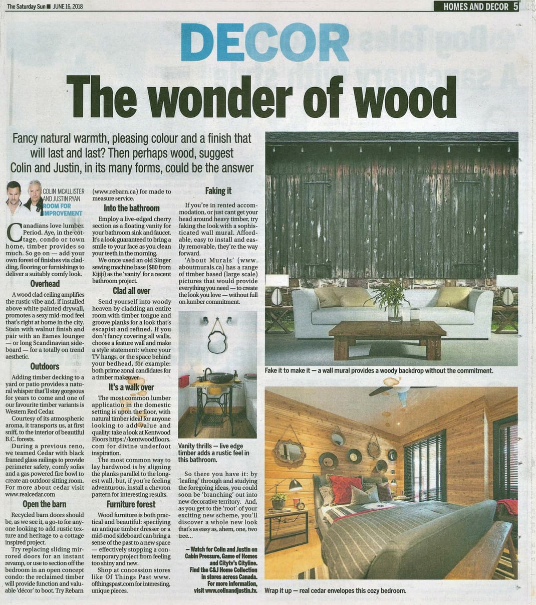 An old barn wallpaper, sold by AboutMurals.ca, is featured in the Toronto Sun newspaper