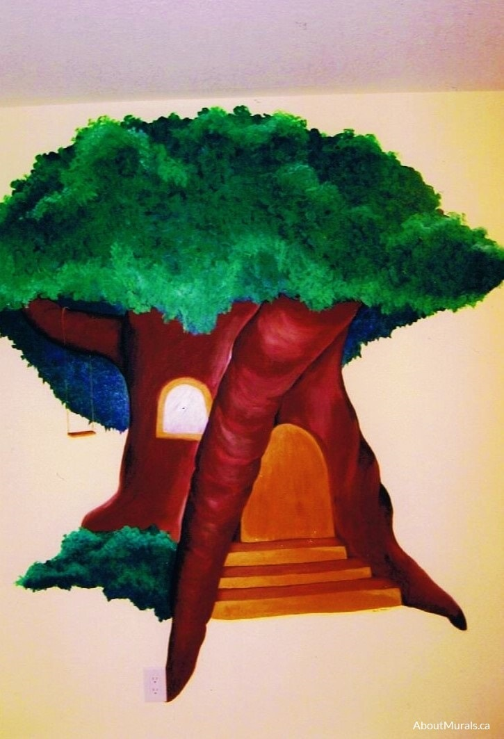 A tree wall mural painted by Adrienne of AboutMurals.ca