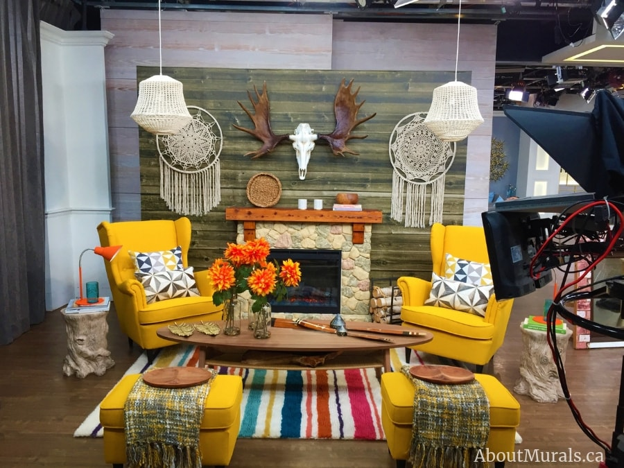 The barnwood wallpaper on Cityline used by Colin and Justin to create a rustic 50s revival