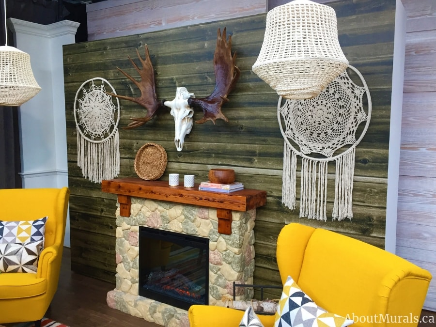A closeup of the barnwood wallpaper used on Cityline by Colin and Justin