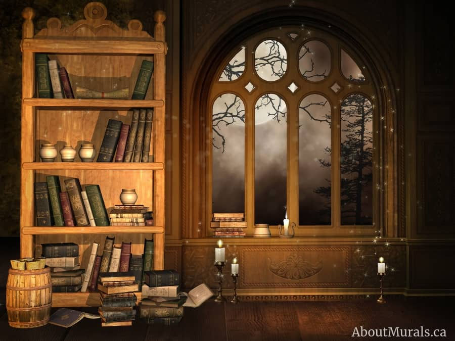 A scary den mural that was part of the Halloween wall murals used on Cityline. Supplied and installed by AboutMurals.ca