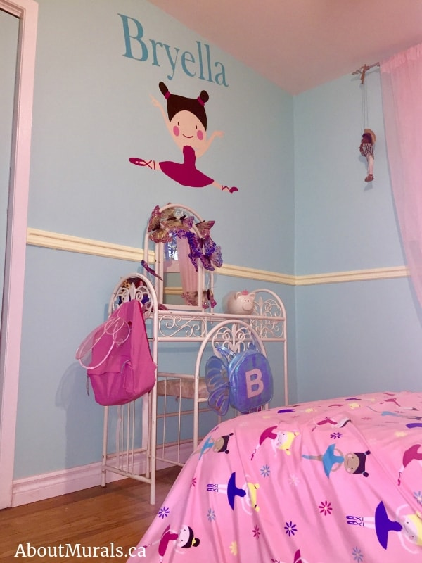 A personalized ballerina mural painted for Bryella in Hamilton, ON by Adrienne of AboutMurals.ca