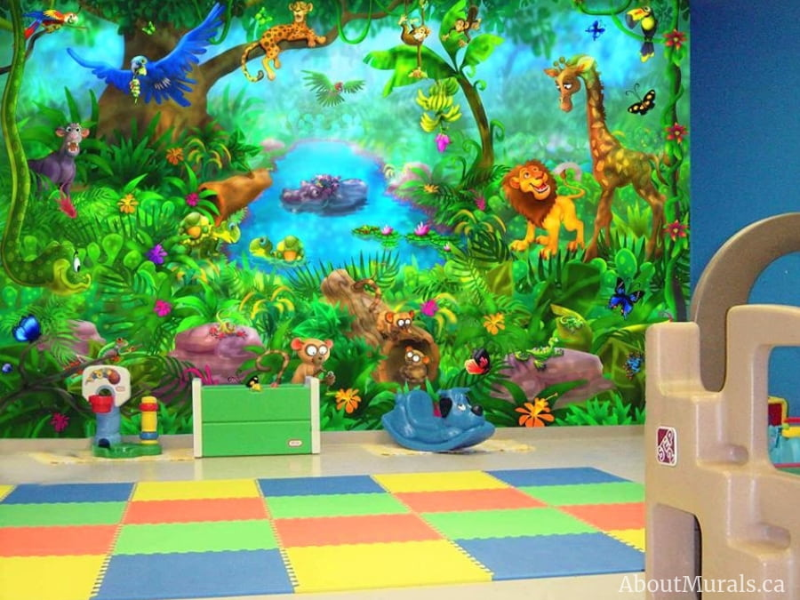 A kids jungle wallpaper found in a playroom, sold by AboutMurals.ca