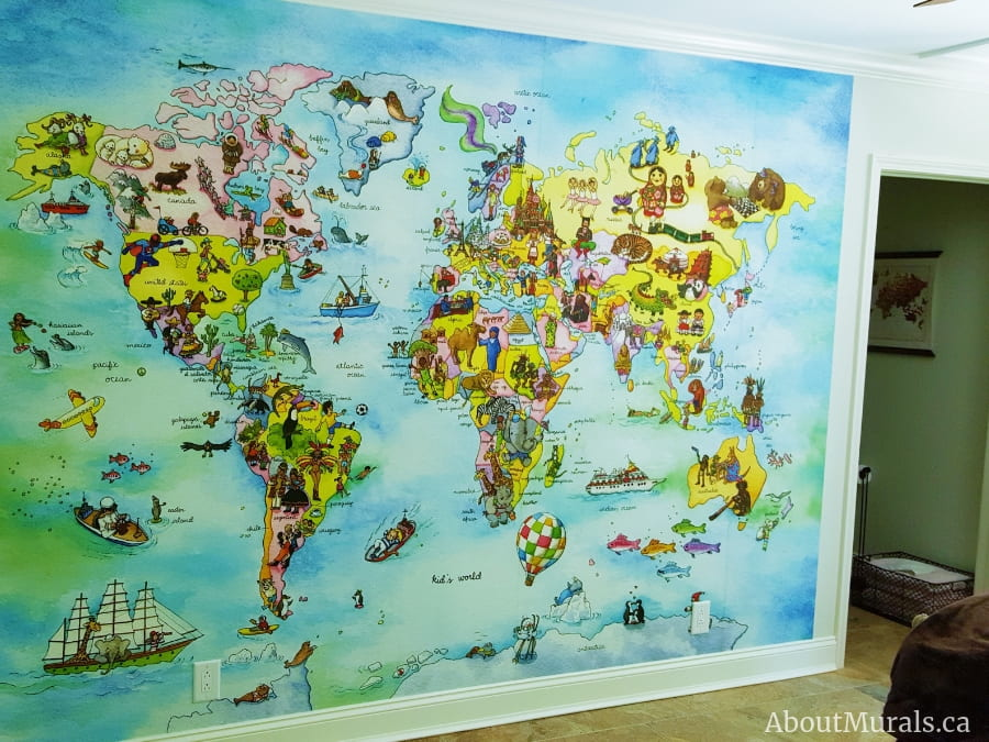 A kids world map wallpaper in a playroom, sold by AboutMurals.ca