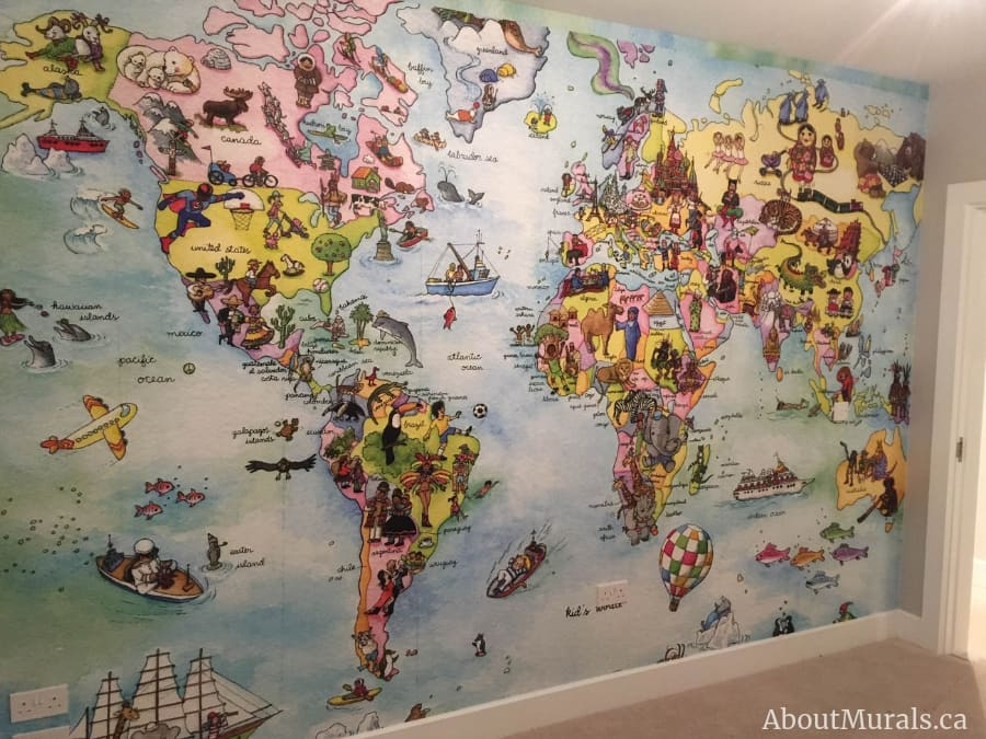 A kids world map wallpaper in a watercolor texture, sold by AboutMurals.ca