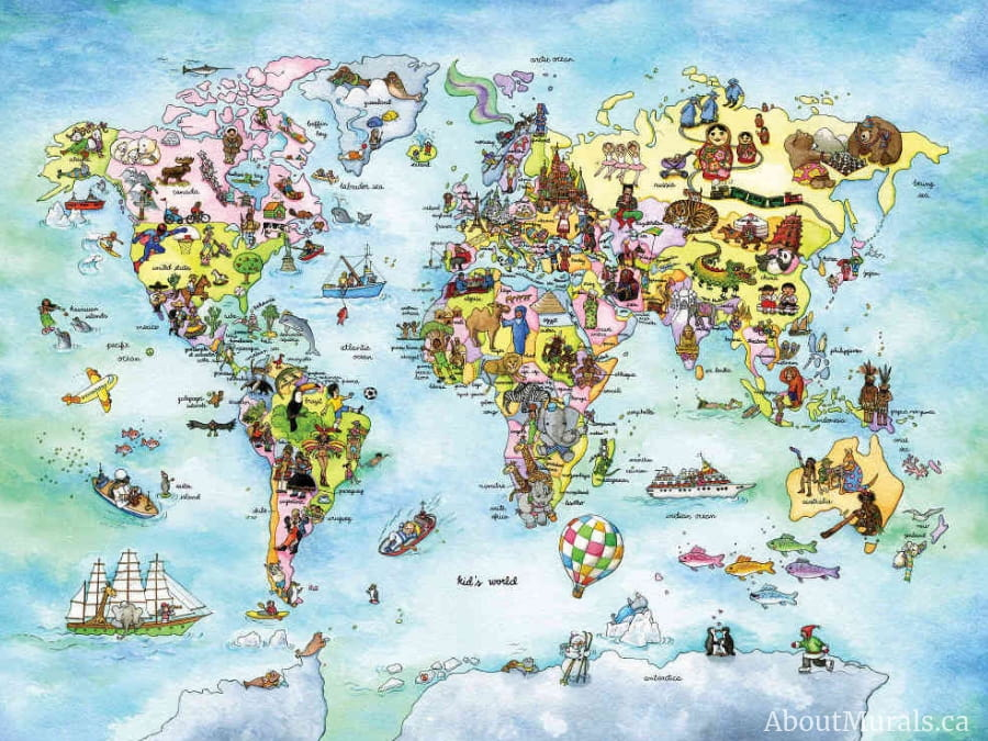 A kids world map wallpaper sold by AboutMurals.ca featuring people and animals of the world on a map