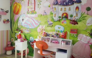 A tea party mural is the backdrop to a homework area in a girl's bedroom. Sold by AboutMurals.ca.