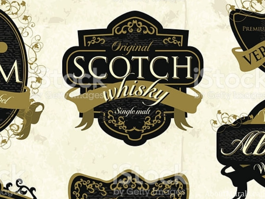 A stock image of a Scotch Whisky label added to a custom wallpaper created by AboutMurals.ca