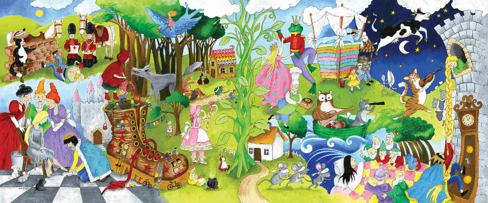 A fairytale wall mural, sold by AboutMurals.ca, features Cinderella, Sleeping Beauty, Snow White, Rapunzel and many more characters