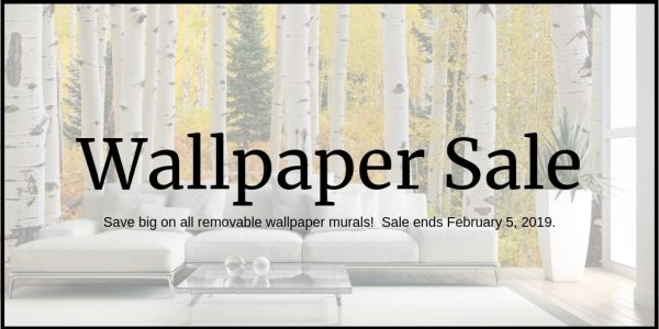 Wallpaper Sale on all removable wallpaper murals from AboutMurals.ca