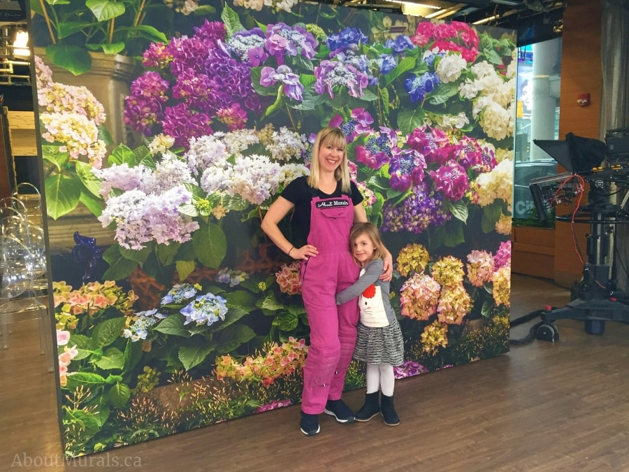 This hydrangea wallpaper was hung by Adrienne and Audrey of AboutMurals.ca on the set of Cityline