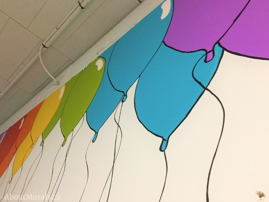 A closeup photo of colourful balloons painted on a wall by muralist Adrienne of AboutMurals.ca