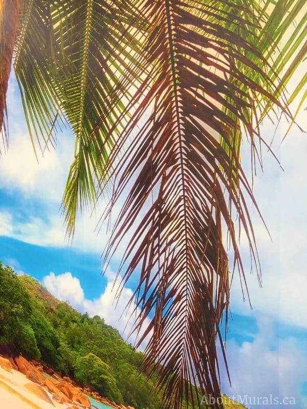A closeup shot of a beach wall mural, sold by AboutMurals.ca