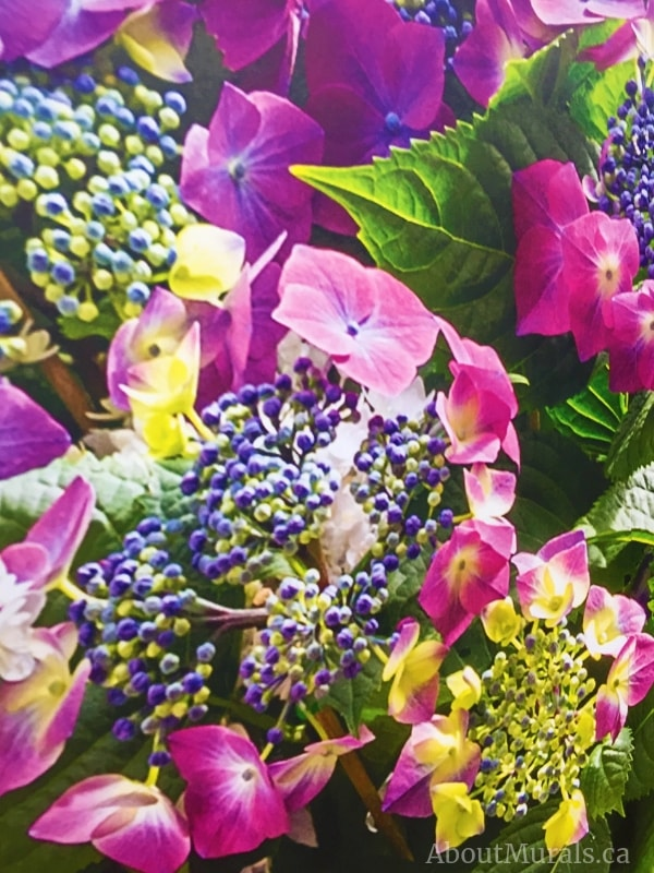 A closeup photo of a hydrangea wall mural to see all the details of the purple flowers. Sold by AboutMurals.ca