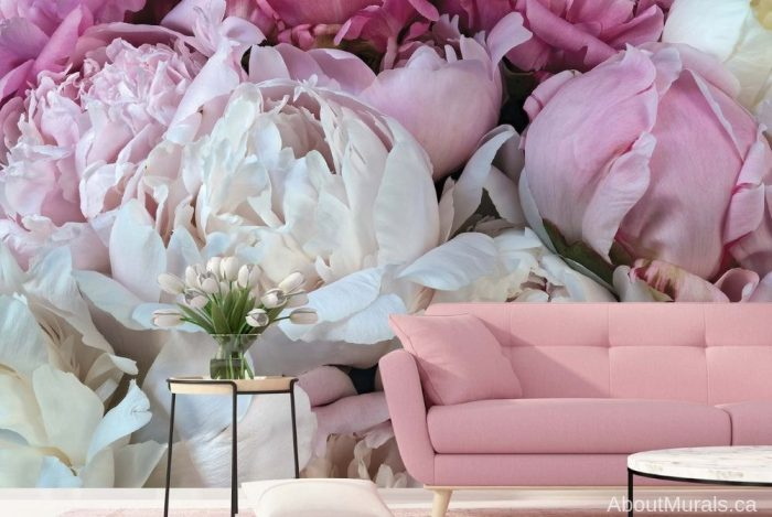 Peony Wallpaper, featuring pink flowers on removable wallpaper, as seen in this pink living room. Sold by AboutMurals.ca