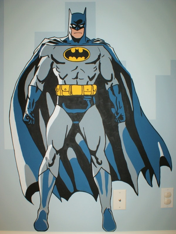 Batman is featured in this hand-painted mural for kids by Adrienne of AboutMurals.ca
