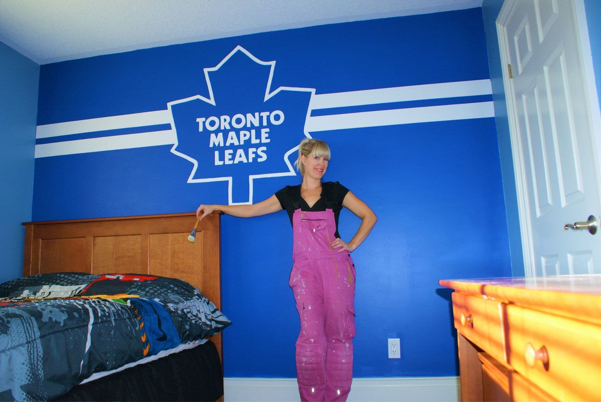 Toronto Maple Leafs Mural painted by Adrienne of AboutMurals.ca