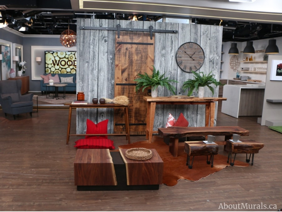 A wood look wallpaper is the backdrop to a Cityline episode. Supplied and installed by AboutMurals.ca